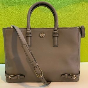 Tory Burch French Grey Robinson Leather Tote